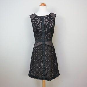 Black Lace Dress - Faux Leather - LBD - Size L